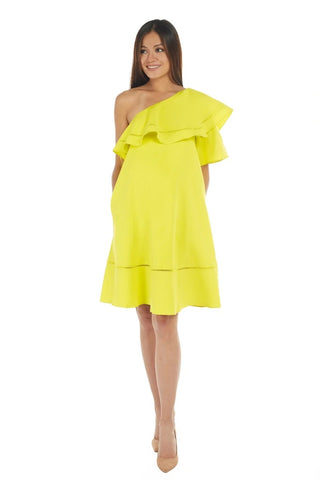 Neon Yellow One Shoulder Ruffle