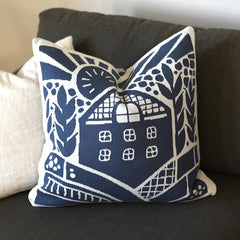Blue Knitted Wheat Throw Pillow