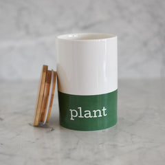 Wood Lid Green Plant Canister