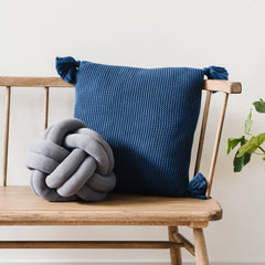 Navy Throw Pillow with Tassels
