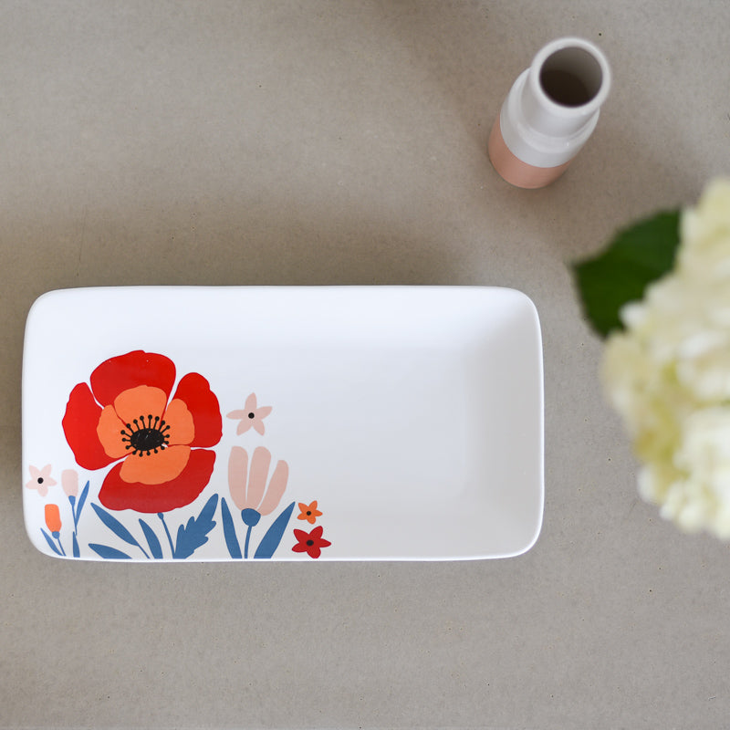 Latter-Day Home Floral Ceramic Serving Tray - Serving Platter - White Plates - Serving Trays for Party - White Serving Tray - Serving Ware - Kitchen Platter