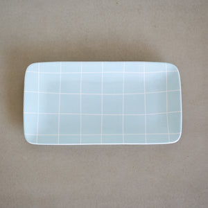 Latter-Day Home Blue Ceramic Serving Tray - Serving Platter for Daily Use or Special Occasions - Farmhouse Kitchen Dishes Ceramic Serving Ware - Kitchen or Dining Room Display Accessory…