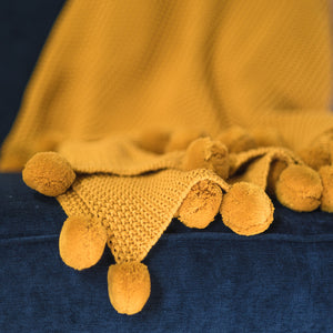 Throw - Mustard Pom Pom