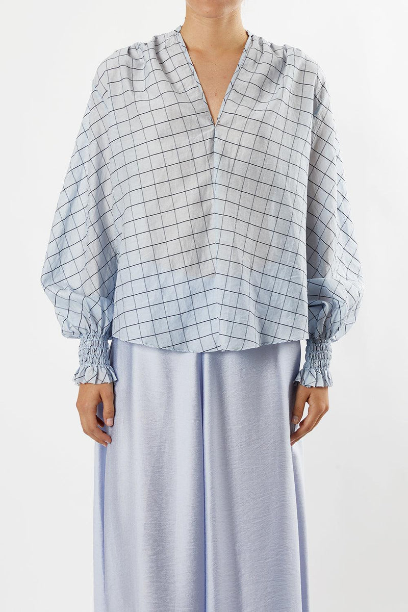 Cotton Silk Check Voile Shirt