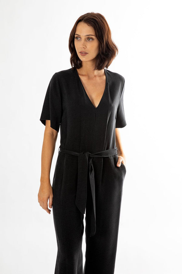 Washed Cupro Twill Jumpsuit