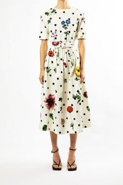 Botanical Dot Poplin Dress