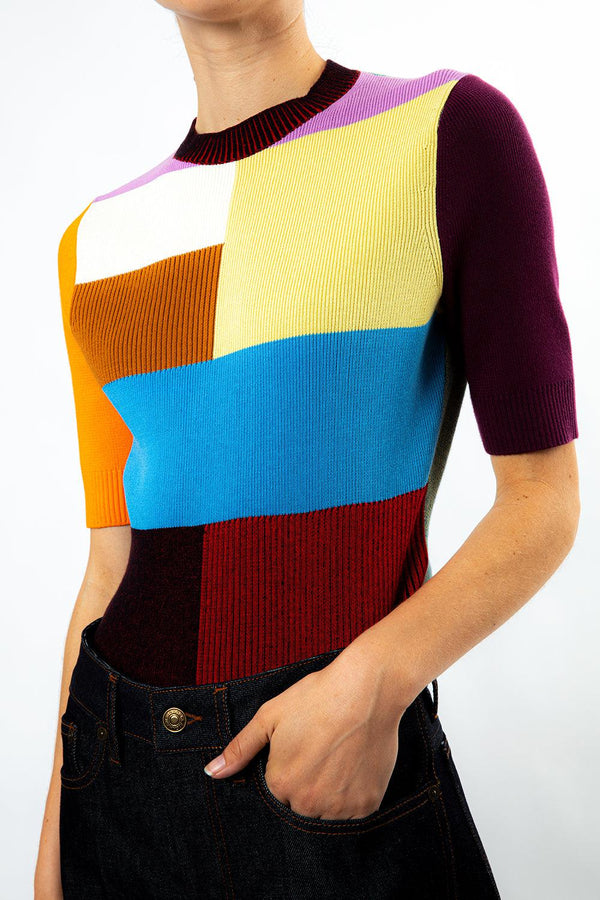 Patchwork Knit Top