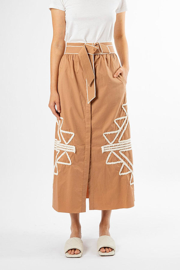 Forever Expedition Embroidered Midi Skirt