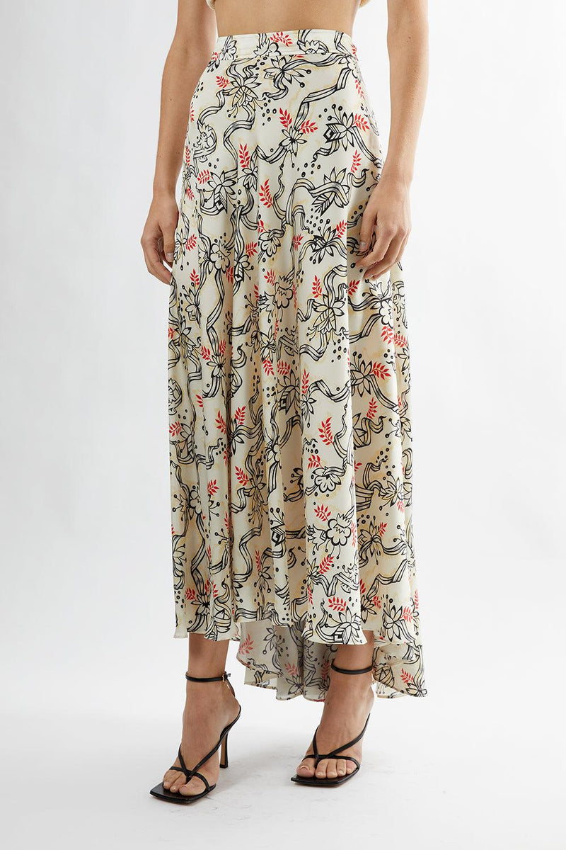 Ribbon-Print Crepe Maxi Skirt