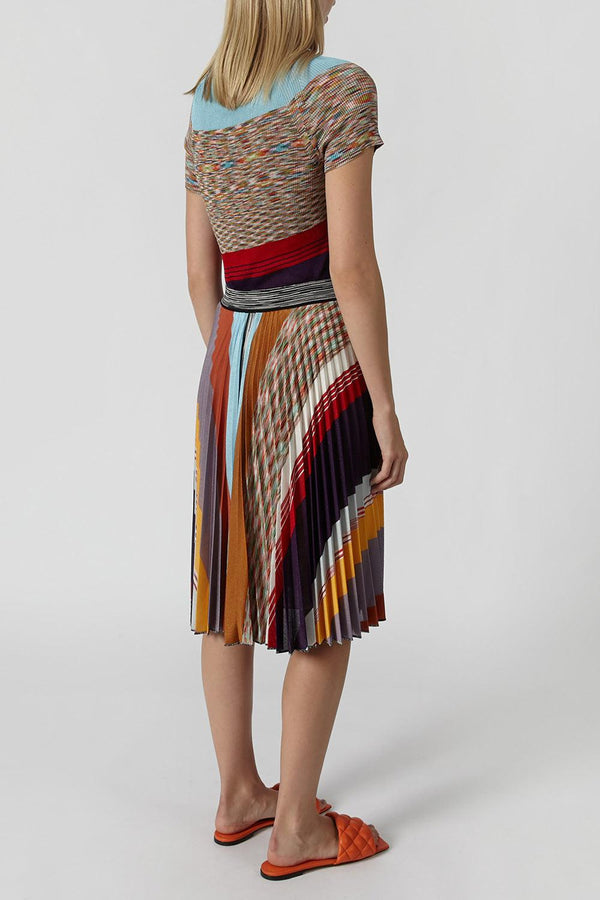 Pleated striped crochet-knit skirt