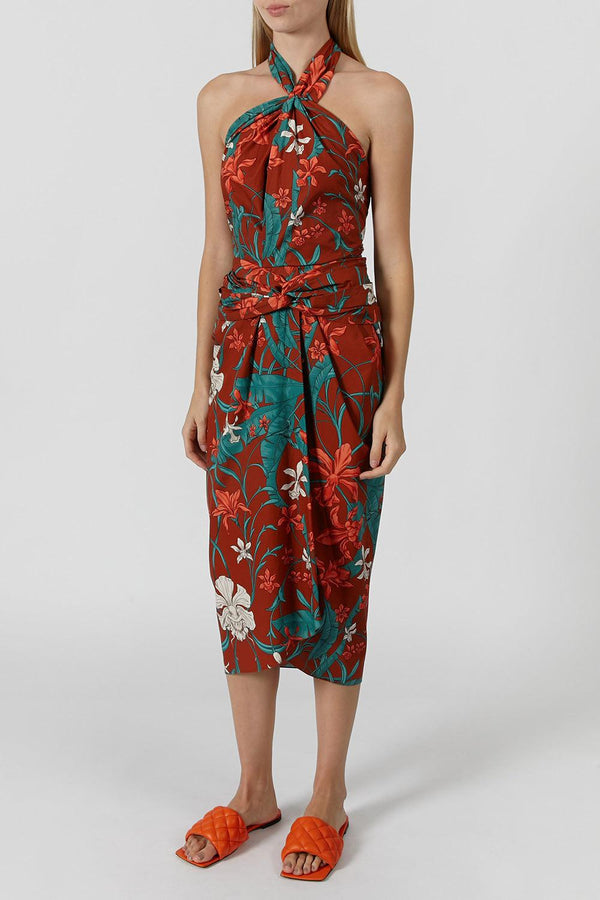 Allegory of Summer printed cotton midi dress