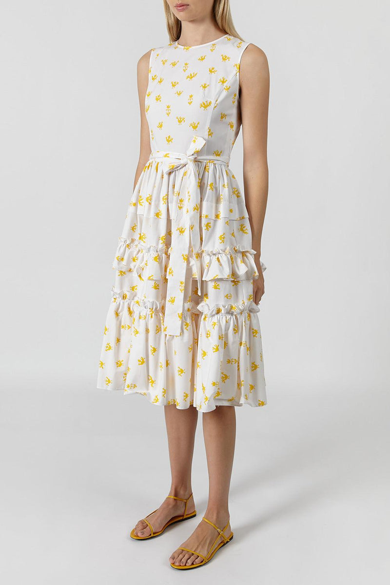 Tiered ruffled printed stretch-cotton poplin dress
