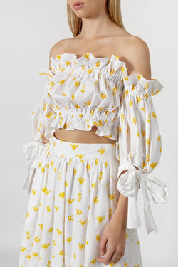 Cropped ruffled printed stretch-cotton poplin top