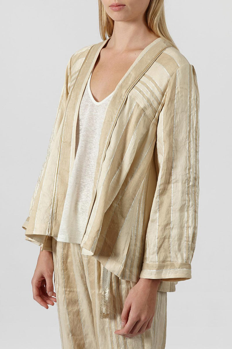 Striped linen and silk-blend jacket