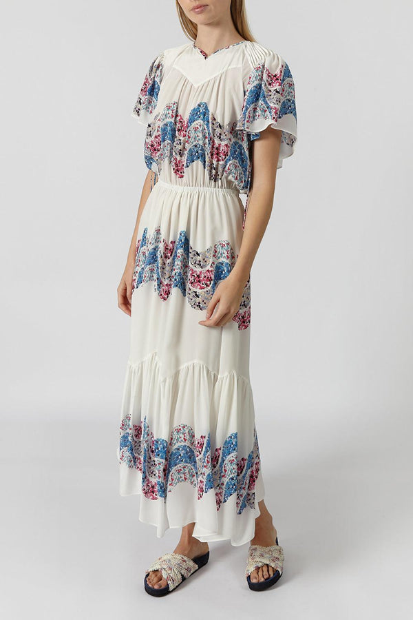 Nimo Tiered Silk Midi Dress
