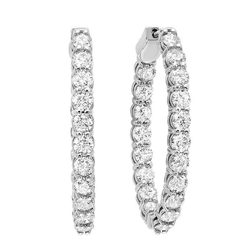 14K White Gold In-Out Diamond Earrings 7 ct