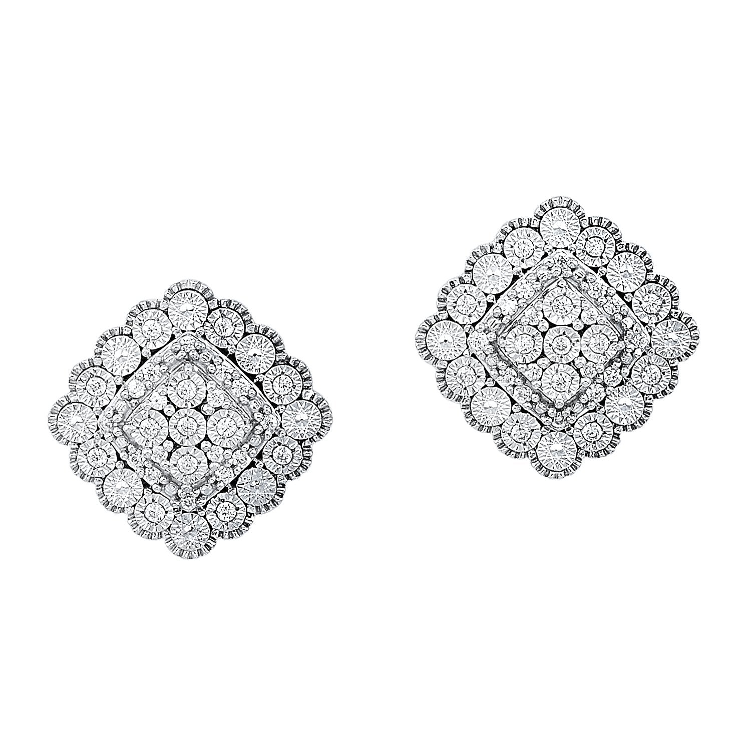 Silver Diamond Earrings 1/7 ctw