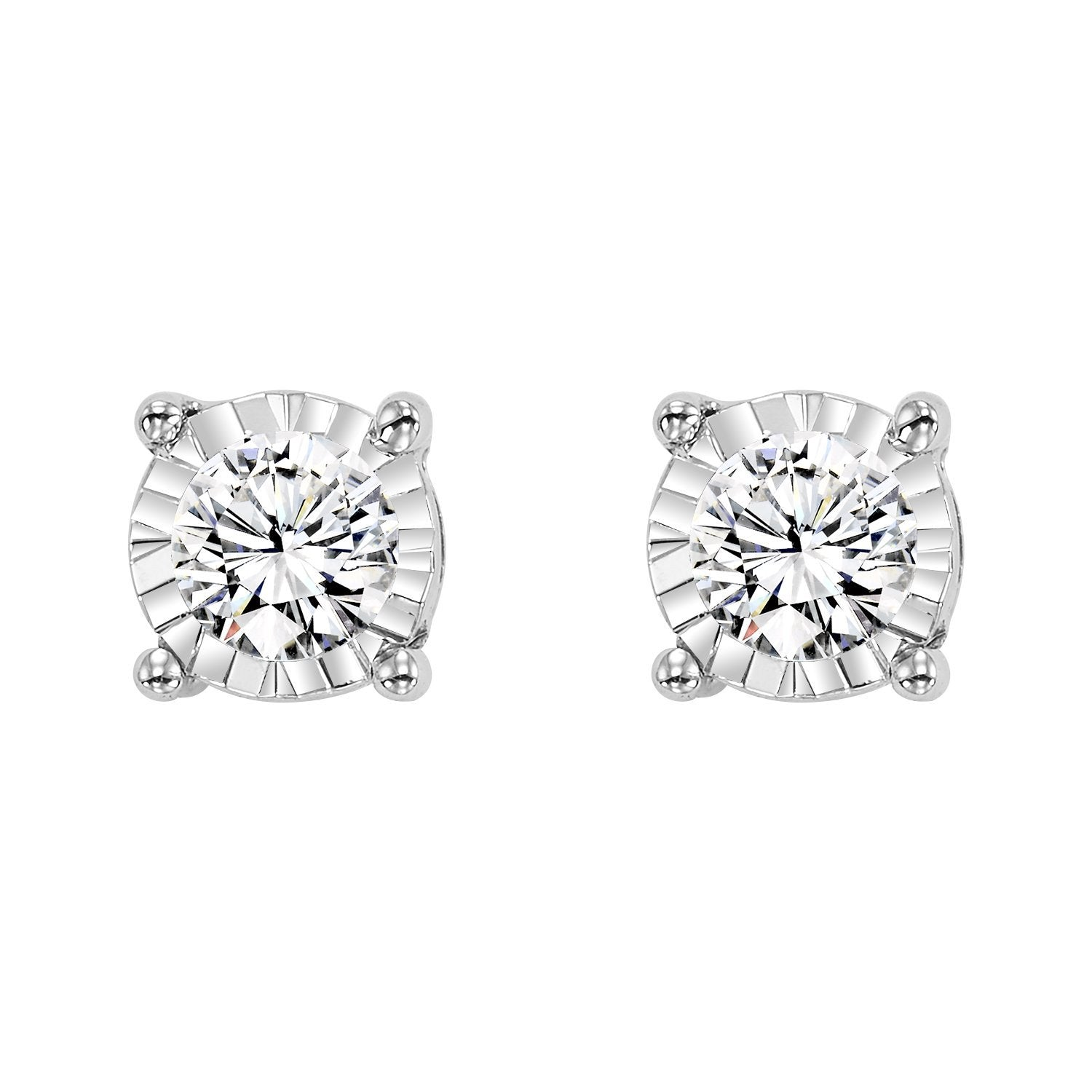 14K White Gold Diamond Studs 1/10 ct