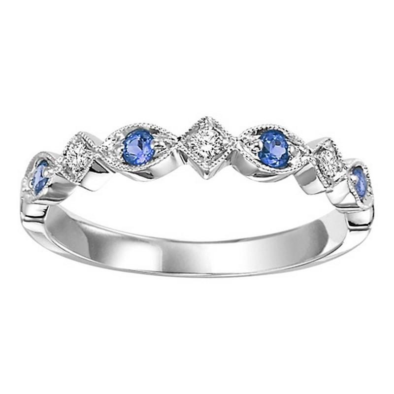 14K White Gold Sapphire & Diamond Stackable Ring