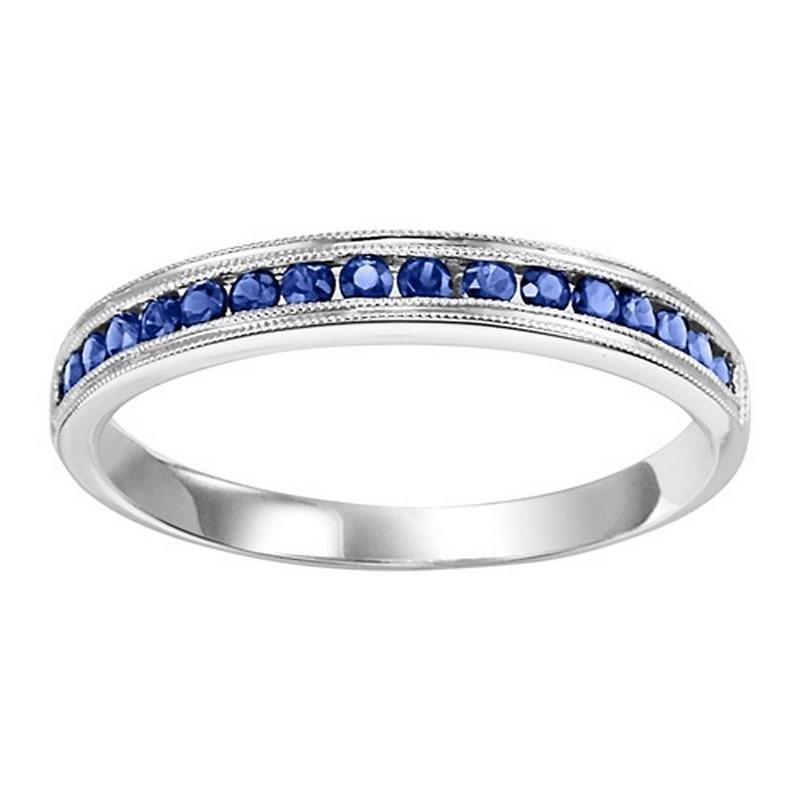14K White Gold Sapphire Stackable Ring