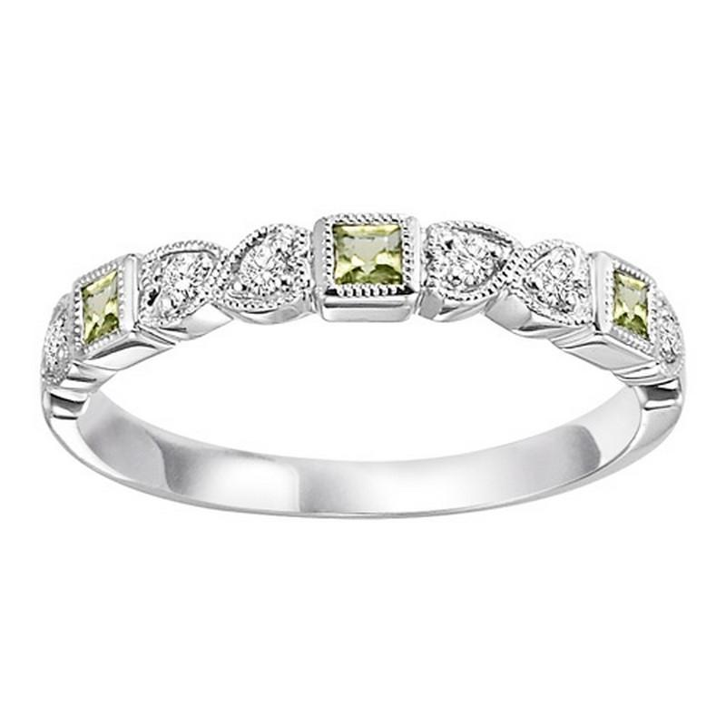 14K White Gold Peridot & Diamond Stackable Ring