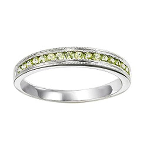 14K White Gold Peridot Mixable Ring