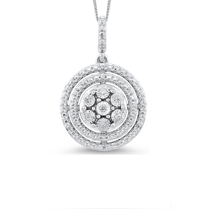 Silver Diamond Pendant 1/10 ct