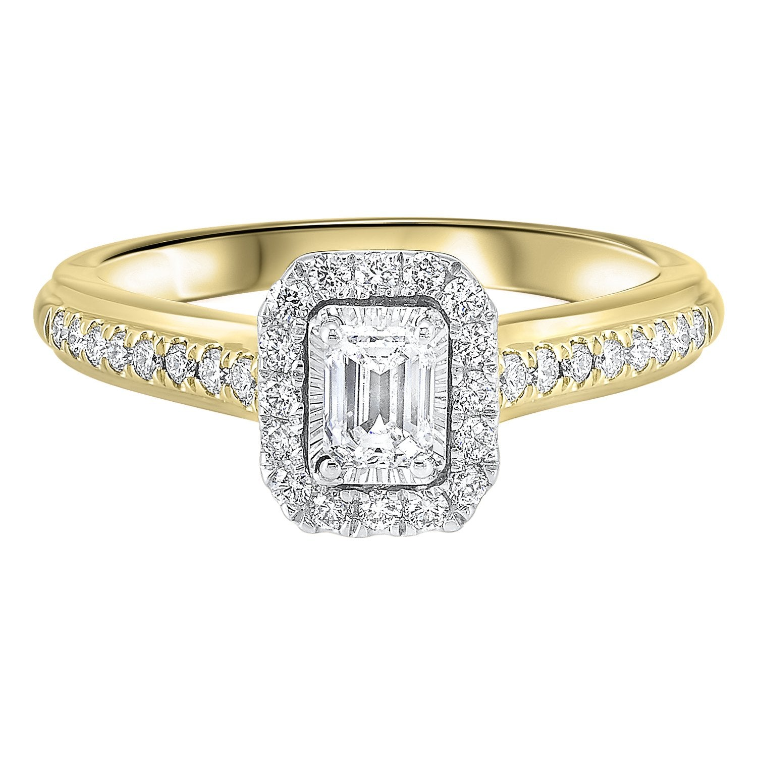 14K Two-Tone White/Yellow 1/2ctw Emerald Cut Ring with 1/3 center
