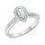 14K White 1/2ctw Pear Shape Ring with 1/3 center