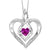 Silver Diamond & Created Pink Tourm. Pendant