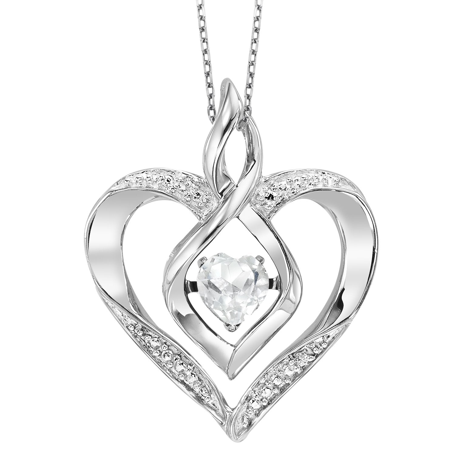 Silver Diamond & Created White Topaz Pendant
