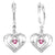 Silver Diamond & Created Pink Tourm. Earrings