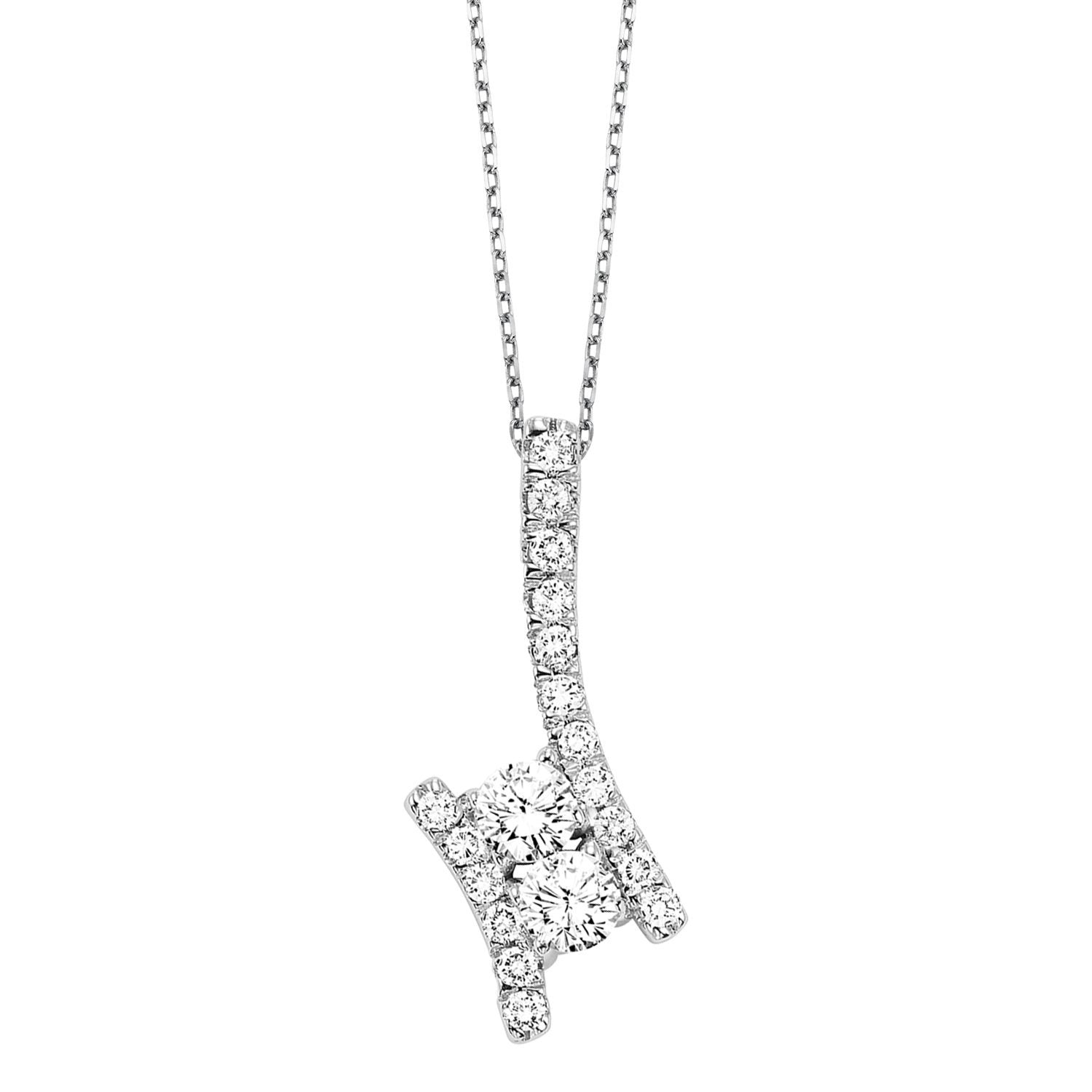 Silver Diamond Two Stone Pendant 1/4 ct
