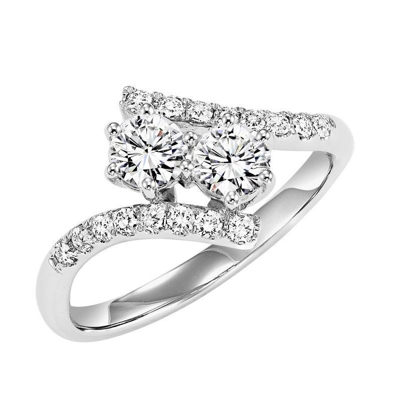 14K White Gold Diamond Two Stone Ring 3/4 ctw