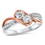 14K Rose Gold Diamond Two Stone Ring 1/2 ct