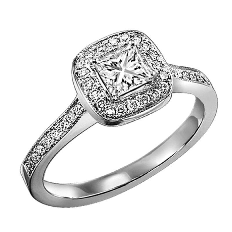 14K White Gold Halo Diamond Engagement Ring 1/4 ct with 1/3 ct Center Diamond