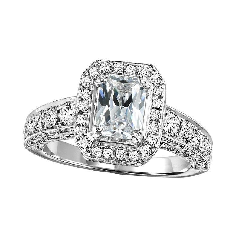 14K White Gold Halo Diamond Engagement Ring - 1 1/4 ct