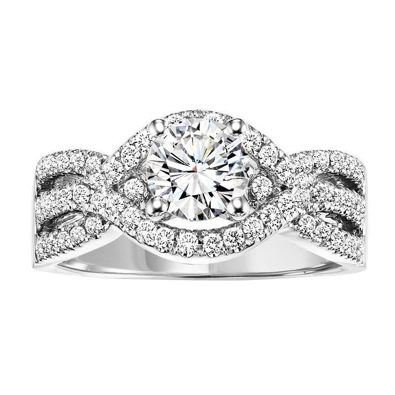 14K White Gold Split Shank Halo Diamond Engagement Ring - 1/2 ctw