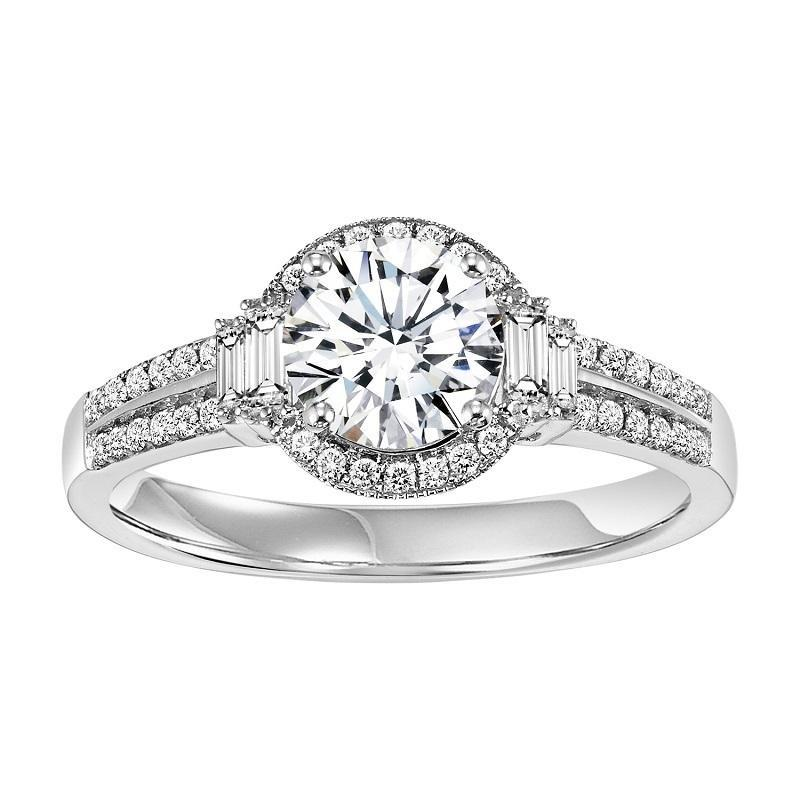 14K White Gold Halo Diamond Engagement Ring 1/3 ctw