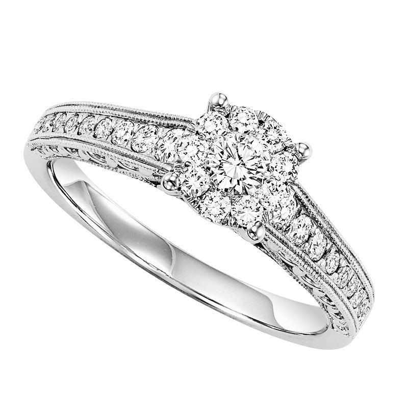 14K White Gold Halo Cluster Diamond Engagement Ring 1/2 ct