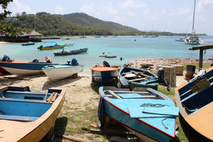fishing boats with Basil's Bar in the background