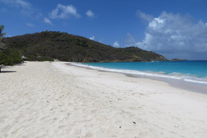 looking down Macaroni beach Mustique