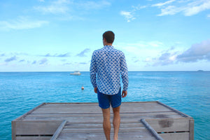 Mens linen shirt Manta Ray Navy Blue and Plain Blue Swim Trunks