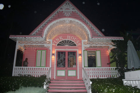 Pink House Mustique at night