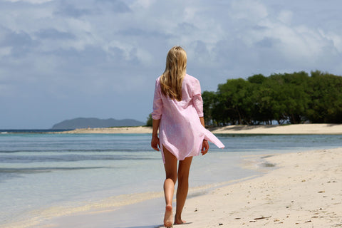 walking along Lagoon Bay, Mustique.