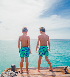 Boys trunks designed in the Caribbean by Lotty B for her Pink House Mustique childrens collection.