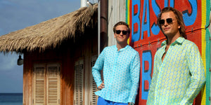 Pink House Mustique mens linen shirt collection in fabulous prints designed by Lotty B