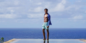 Pink House Mustique mens trunks, beach shorts and swimwear designed by Lotty B in colourful Carribean prints