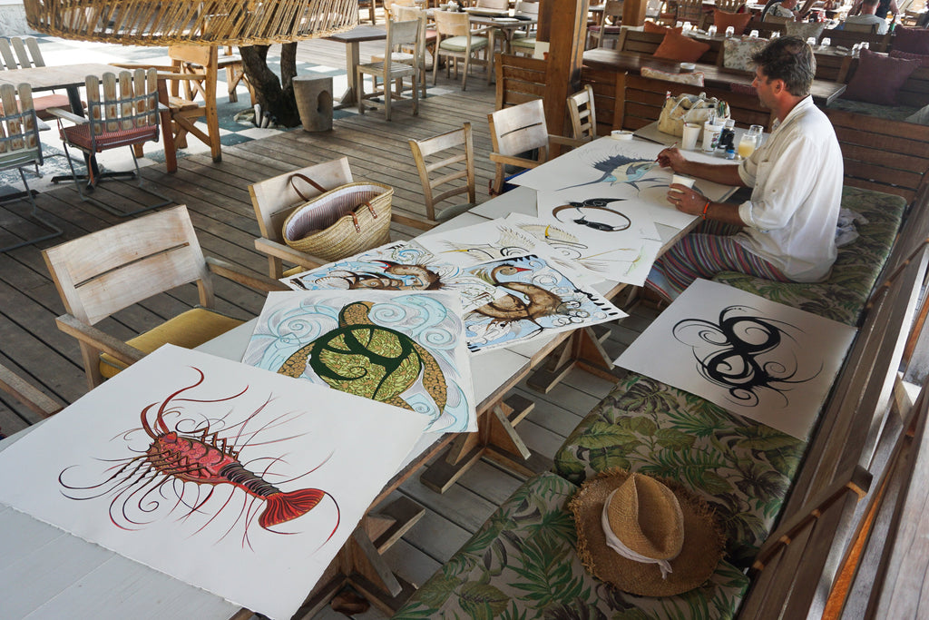 Alex Beard, Basil's Bar Painting, Animal Paintings, Nature, Art, Pink House Mustique
