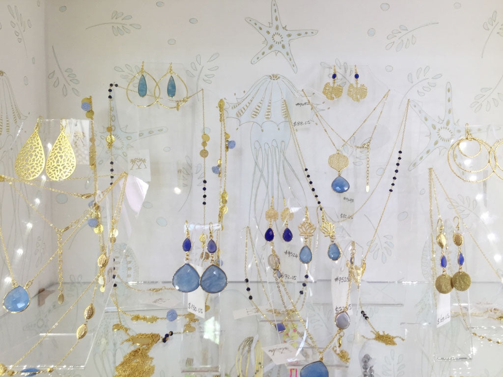 jewellery by Ashiana in gold and blue in the Pink House Mustique